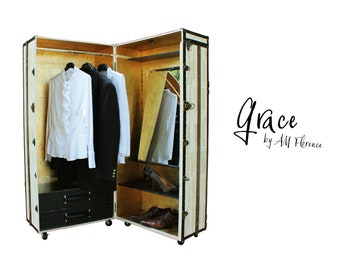 GRACE Wardrobe Cabinet Trunk Vintage Style Furniture