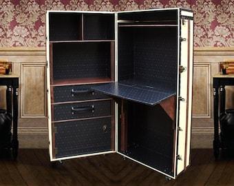 FITZGERALD (white edition) - Unique DESK Bookcase CABINET Vintage style Luxury Furniture Wardrobe Office Steamer Trunk Storage