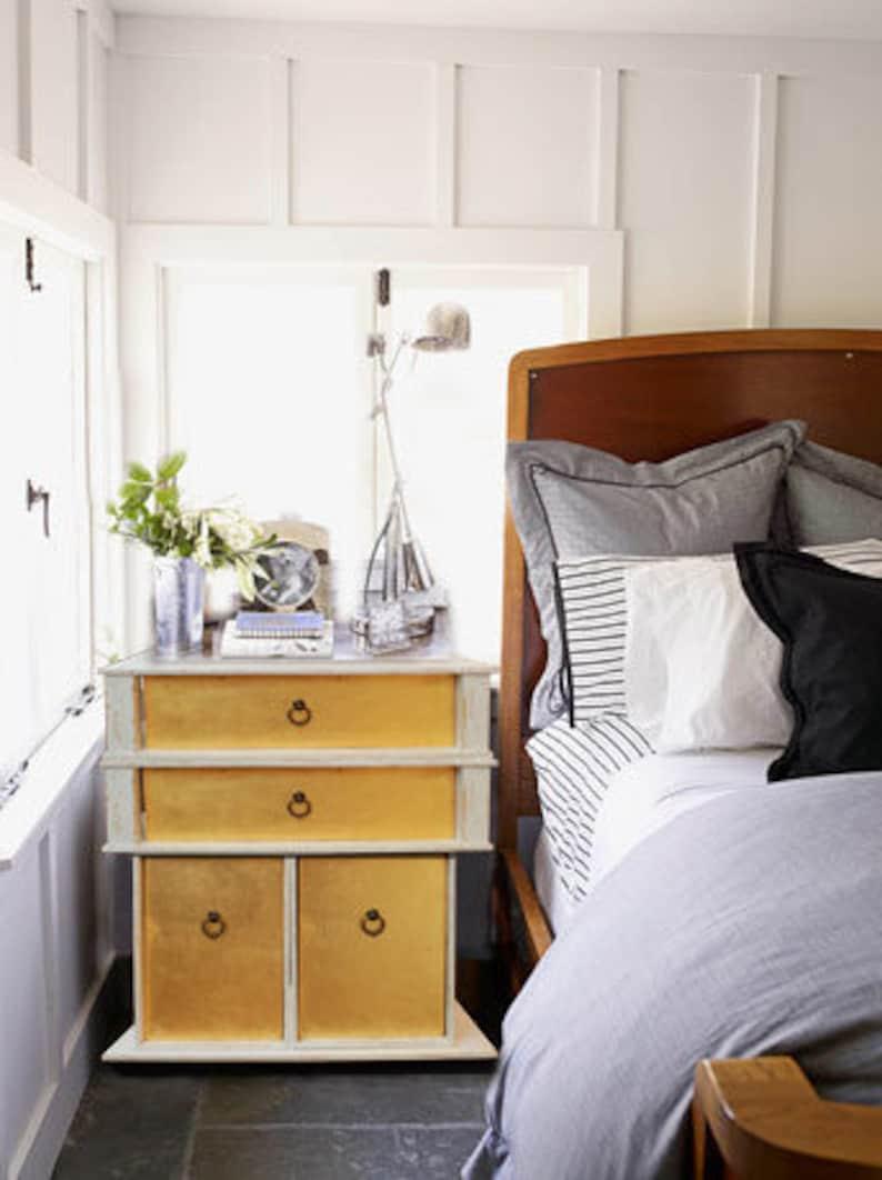 Gold White Nightstand Bedsidetable Endtable Bedroom Furniture Etsy