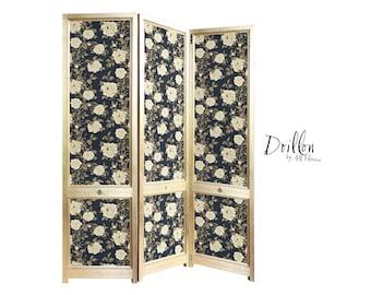 DOILLON Sanderson Peony Tree Wallpaper Handmade wooden Folding Screen Room Divider Decorative Vintage Partition