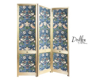 DOILLON Strawberry Thief Morris Wallpaper Handmade wooden Folding Screen Room Divider Decorative Vintage Partition