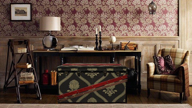 Luxury Morris Wallpaper Coffee Table Steamer Trunk Exclusive
