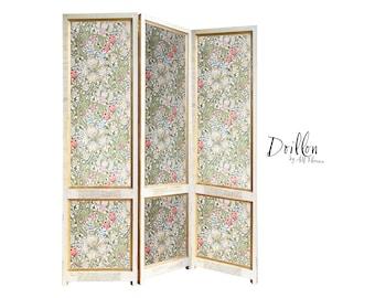 DOILLON Morris Wallpaper Handmade wooden Folding Screen Room Divider Decorative Vintage Partition