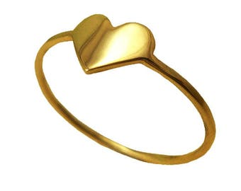 14K Gold Heart Ring, 14K Gold Ring, Heart Shape Ring, Gold Ring, Handmade, Unique Designer Ring, Gold Fashion Ring