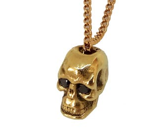 14K Skull Necklace ,Gold Skull Necklace, 14K Gold, Handmade Jewelry, Man Pendant, Fashion Jewelry, Designers jewelry, Skull Pendant