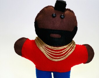 Hand-stitched felt Mr.T plush, A team, A-team stuffed toy, I pity the fool
