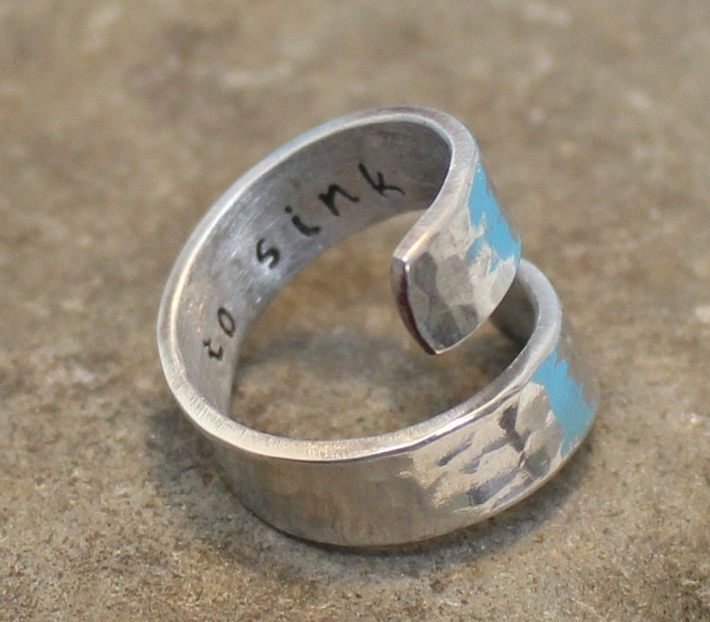 Customized Best Gift. I Refuse to Sink Hand Stamped. Adjustable aluminum Wrap Ring..Personalized Ring. Hammered Ring.