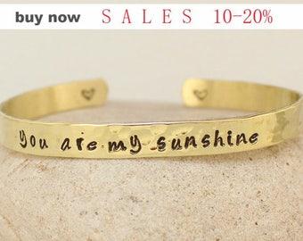 """Personalized Bracelet-""""You are my Sunshine""""- Hand Stamped Brass Bracelet. Custom bracelet.. Bangle bracelet.. Gold Bracelet"""