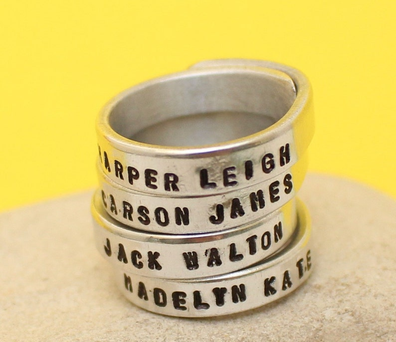 Couples Band Set Stacking rings Personalized Silver Ring Made of Aluminum- Stackable Hand Stamped Ring Best Gift