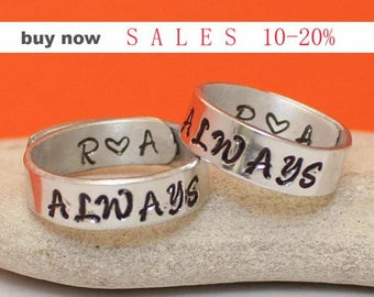 Personalized Always Ring Set -   Hand Stamped - Silver Couples ring - Game of thrones relationship rings - Promise Ring Set
