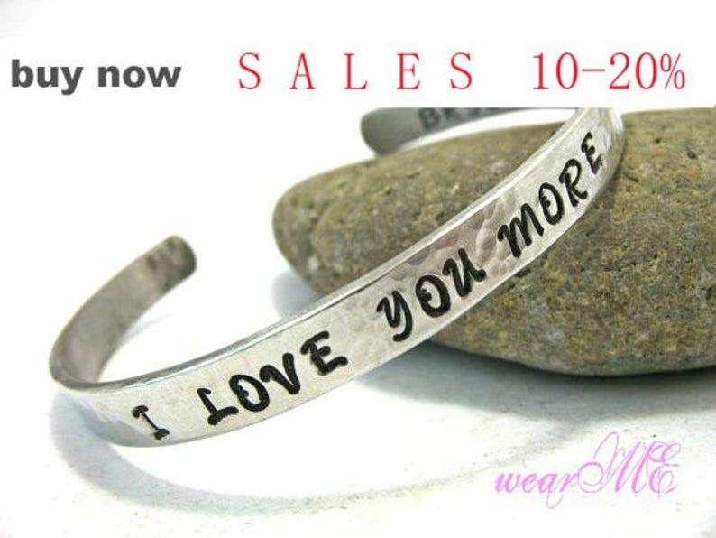846801e0e28 Personalized I LOVE YOU MORE Bracelet Personalized Cuff /   Etsy