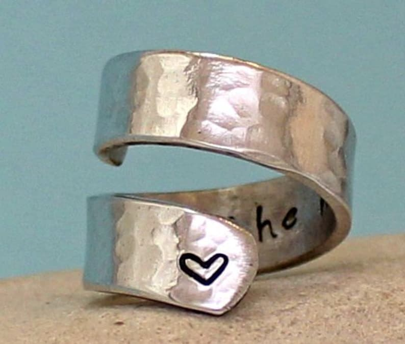 Sterling Silver Ring Personalized Ring Adjustable Aluminum Wrap Ring I Love You to the Moon and Back Ring