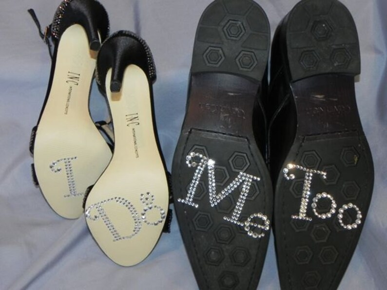 22c38a089e Large I Do and Me Too Rhinestone Shoe Stickers - Crystal Shoe Set - Bride  and Groom Shoe Decals