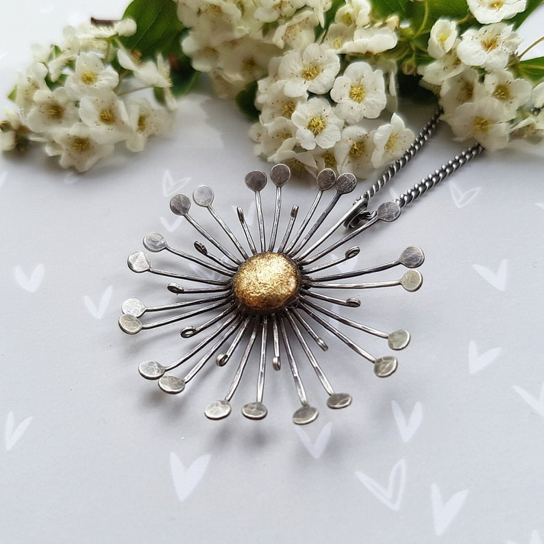 Silver dandelion necklace with gold oxidised silver image 0