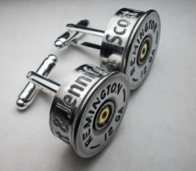 12 Gauge Remington Nickel Engraved Bullet Head Grooms Groomsman Personalized Wedding Cufflinks Set Wedding