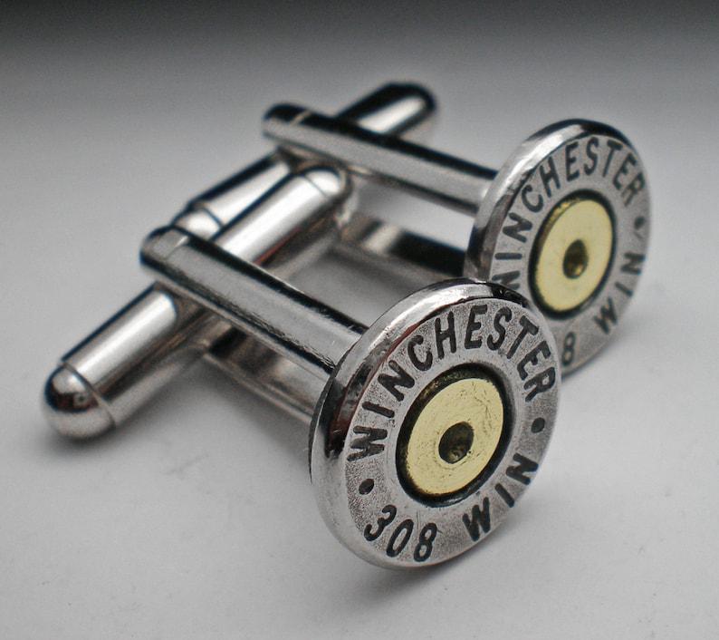 308 Winchester Nickel Bullet Head Grooms Cufflinks Set Wedding Groomsman