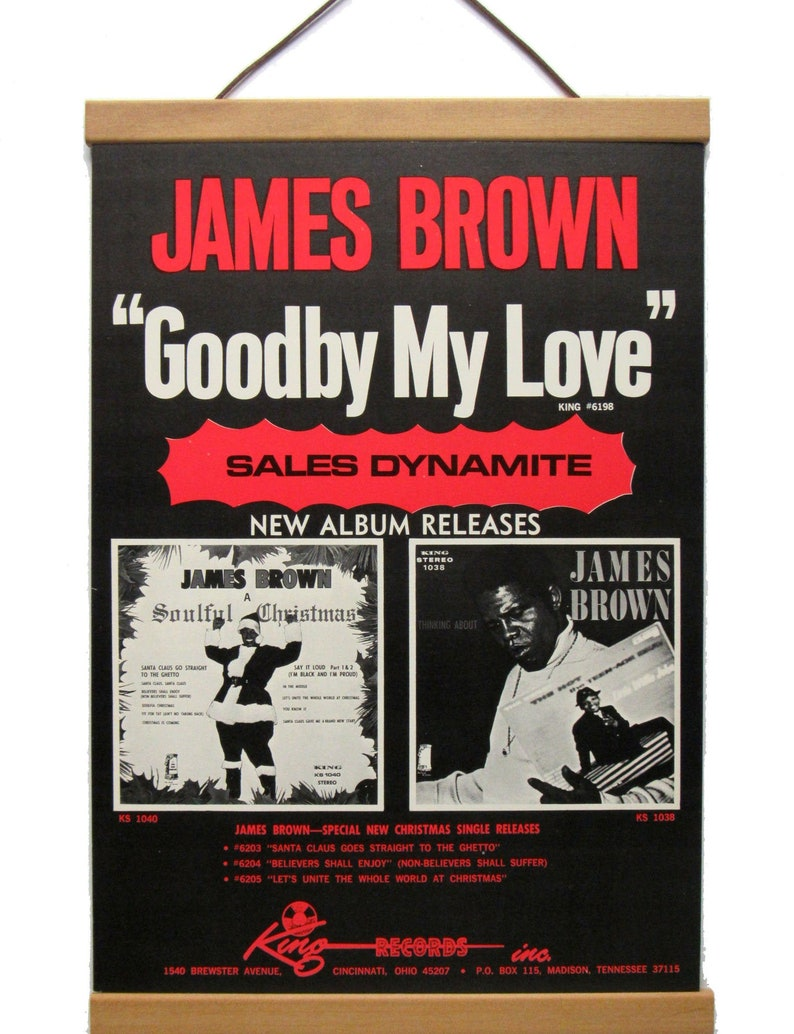 Foam Board Mounted James Brown Original promotional Ad! wMagnetic Frame included!