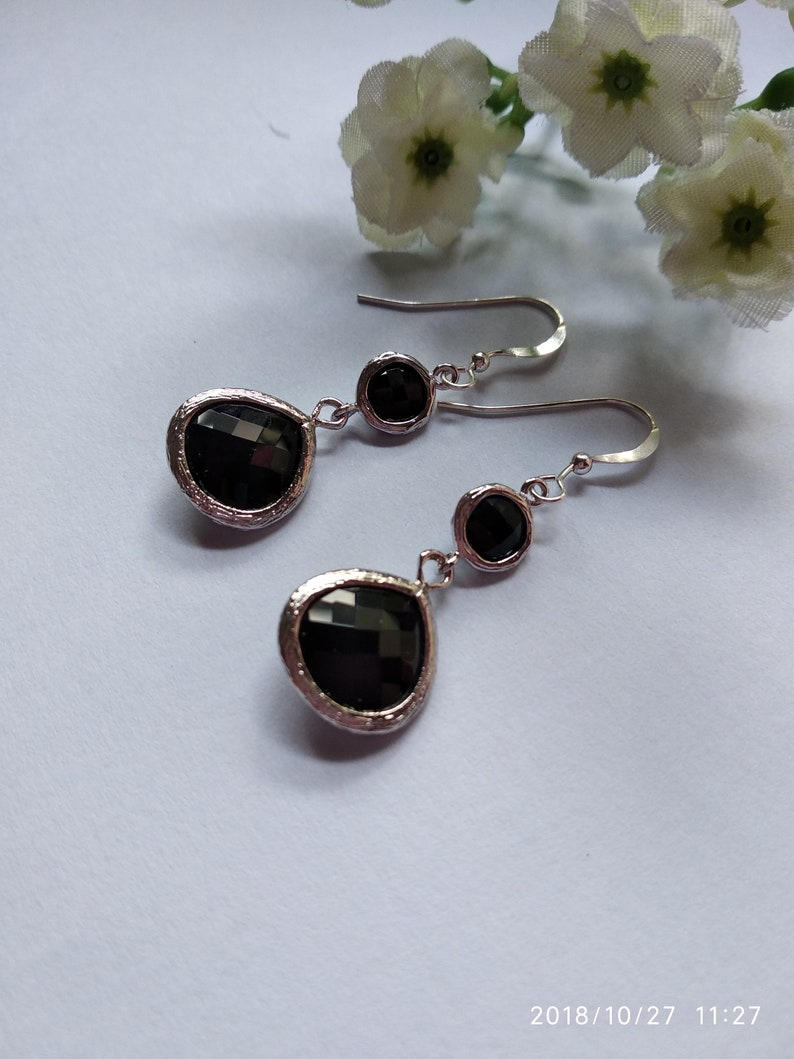 Sterling Silver Ear Hooks Christmas Gift. Gift ideas Everyday Earrings For Her Free Shipping-Black Glass Stone Dangle Earrings