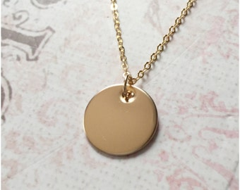 Round gold pendant etsy small gold disc necklace blank disc necklace 14k gold filled circle charm gold round disc custom coin disc necklace dot pendant aloadofball Images