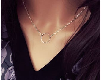 Silver Ring Necklace - Silver Circle Necklace - Silver Karma Necklace - Eternity Necklace - Open Circle - Medium Charm - Suspended Charm