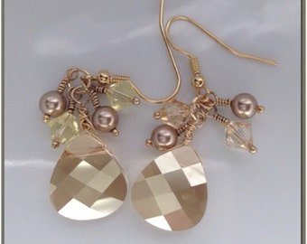 Champagne Dangle Earrings with Brown Swarovski Crystals and Topaz Pearls - Fancy Briolette Earrings - Drop Earrings - Swarovski Earrings