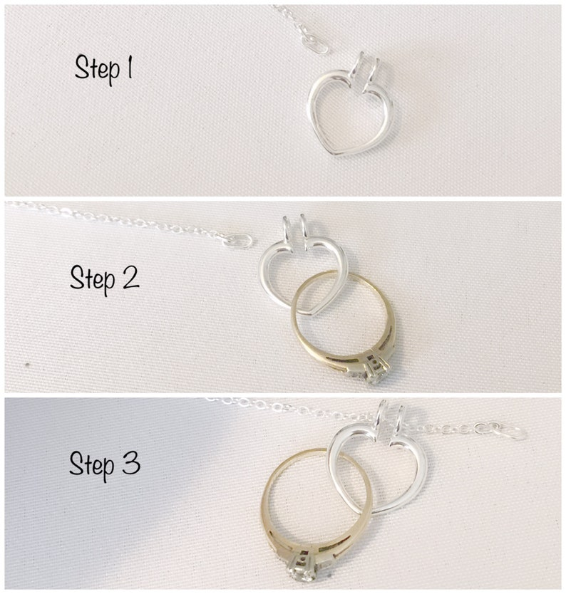 Silver Ring Holder Necklace Open Heart Ring Keeper Necklace Engagement Ring Holder Wedding Ring Holder Necklace Ring Keeper Necklace