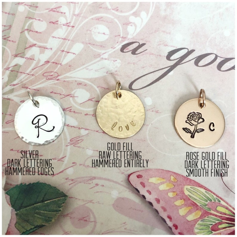 1bbd262ce795c Personalized Disc Charm - Sterling Silver Disc - 14k Gold Filled Disc -  Rose Gold Filled Disc - Medium Hand Stamped Disc - Custom Disc
