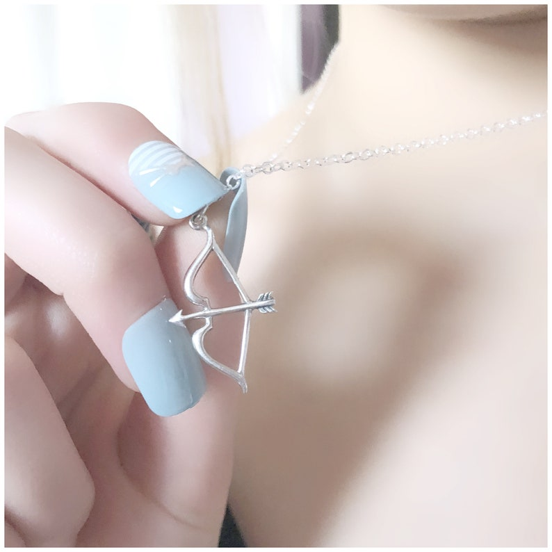 Cupid Necklace Bow and Arrow Jewelry Silver Bow and Arrow Necklace Gift for Archer Cupid Jewelry Archer Jewelry Archery Necklace