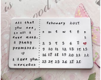 Date to Remember Gift - Personalized Calendar With Your Own Message - Handcrafted Keepsake - Custom Hand Stamped Wallet Card with Red Heart