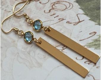 Simple Gold Bar Earrings - Rectangle Gold Bar Earrings - Dainty Crystal Earrings - Simple Bar Drop Earrings - Medium Length - Finish Option