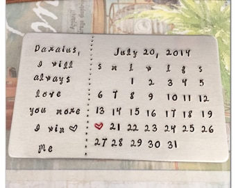 Calendar with Personal Message Wallet Card - Hand Stamped Wallet Insert with Letter for Groom or Bride - Wedding Present - Anniversary Gift