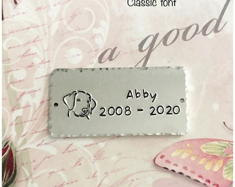 """2"""" x 1"""" Hand Stamped Display Plaque - Metal Plate - Personalized Tag - Aluminum Customized Sign - Wedding Anniversary - Couple Names"""