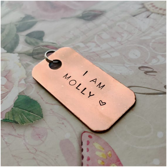 My Name Is Pet Tag - Phone Number Dog Tag - Furry Friend Identification Tag  - Personalized Copper Dog ID - 2 25 x 1 25 Rectangle Dog Tag