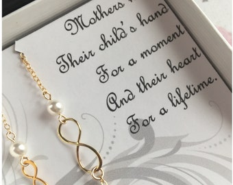 Mother Daughter Infinity Bracelet Set - Gold Infinity Bracelets - Mother and Daughter Bracelets - 2 Matching Bracelets for Mom Little Girl