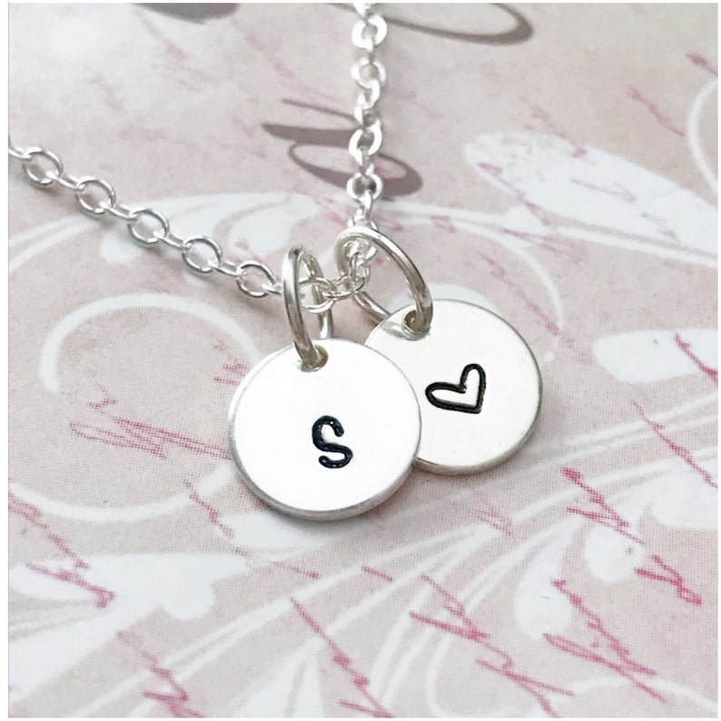 Sterling Silver Disc Necklace Two Disc Necklace Hand Stamped Initial Jewelry -Personalized Tiny Disc Pendant Two Initial Necklace
