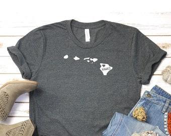 e8e732d2 Hawaii State T shirt - Love Hawaii State T shirt - Dark Heather gray T-shirt  - Bella T shirt - Soft Tee - Womens/Unisex T- shirt