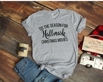 79185bae Tis the Season for Hallmark Christmas Movies T shirt - Holiday Heather gray  T-shirt - Bella T shirt - Soft Tee - Womens/Unisex T- shirt