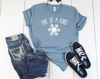 6482d9699e1aa Snowflake Holiday shirt - One of a Kind Snowflake Christmas T shirt-Denim  Colored Bella T shirt - Soft Tee - Womens/Unisex T- shirt