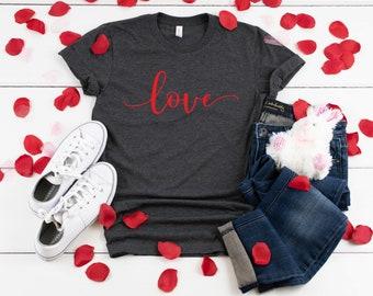 f561486f8bbc Love Script Valentine's Day Shirt - Feb. Shirt - Holiday T Shirt - Dark  Heather Gray T-shirt - Bella T shirt - Womens/Unisex T- shirt