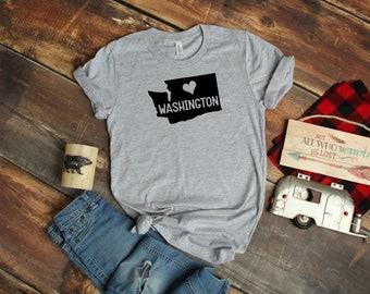 21a797a5 Washington Home State T shirt - Love Washington State T shirt - Heather  Gray T-shirt - Bella T shirt - Soft Tee - Womens/Unisex T- shirt