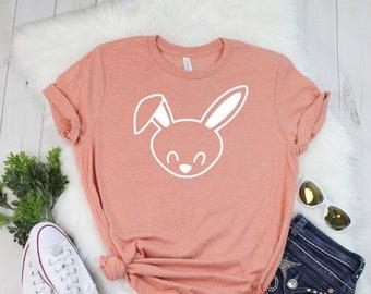 70f6977f8 Bunny T shirt - Cute Bunny Tee - Heather Sunset T-shirt - Easter Spring Tee  - Bella T shirt - Soft Tee - Womens Unisex T- shirt
