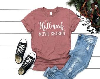 d9d4b450 It's Hallmark Movie Season T shirt - Christmas Holiday Mauve Colored T-shirt  - Bella T shirt - Soft Tee - Womens/Unisex T- shirt