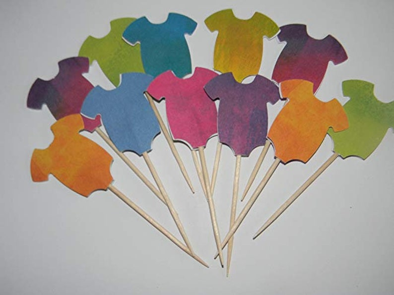 Onesie Baby Cupcake Toppers 24 Tie Dye Like Cupcake Toppers Etsy