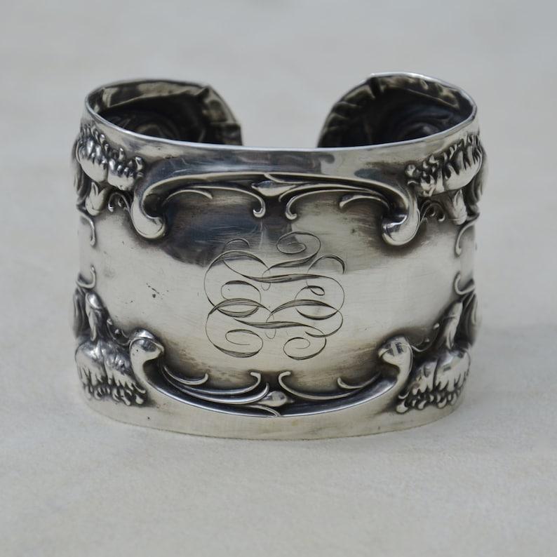 Repurposed Silver Spoon Jewelry Sterling Silver Wide Cuff Bracelet Carnation by Wallace Monogram BR Art Nouveau Antique Floral Bracelet