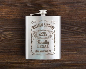 Personalized 21st Birthday Flask For Women Engraved Gift Him Her