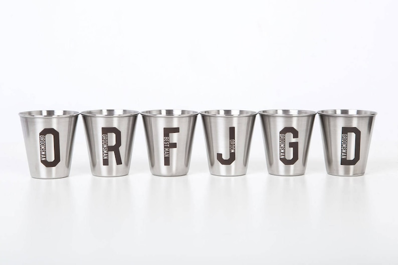 metal cups 1.7 oz  50 ml stainless steel Set of 10 personalized personalized shot glasses