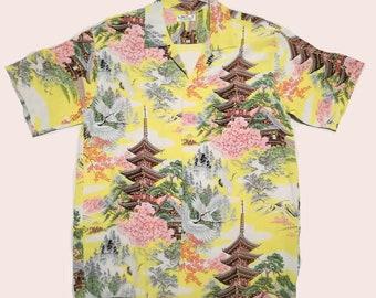 ab5075b0 1950s Rockabilly Aloha Hawaiian Shirt Repro Sun Surf Japan XL