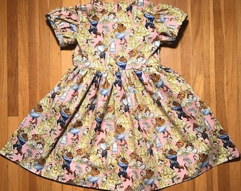 Disney Princess Beauty and the Beast Belle Girls Pink Dress size 4T, 5, 6