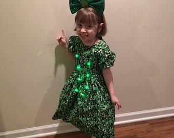 St Patrick's Day Irish Clover Girls Glittery Black Dress size 3T, 4T, 5, 6