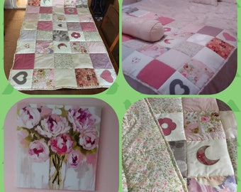 """Personalised Quilt ,Shabby Chic Throw, Patchwork Quilt, Dog Blanket, Quilted Throw, Wedding Gift, Child's Bedding, LONG XL 40"""" x 72"""""""
